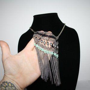 Vintagejelyfish Jewelry - Beautiful silver and turquoise bib necklace